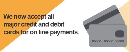 We now accept all major credit and debit cards for on line payments
